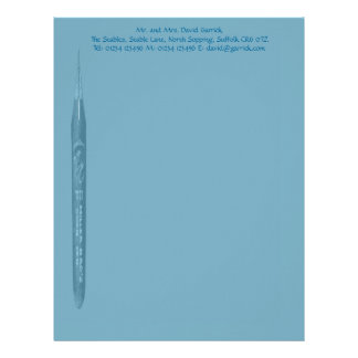 Elegant Petrol Blue Pen Nib Stationery Letterhead Design