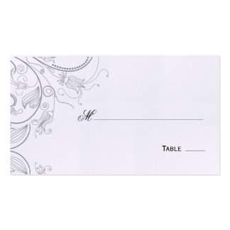 Elegant Pewter Floral Table Seating Place Card Business Card
