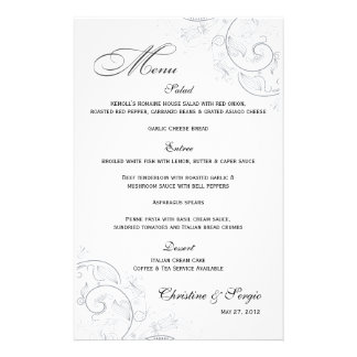 Elegant Pewter Floral Wedding Menu