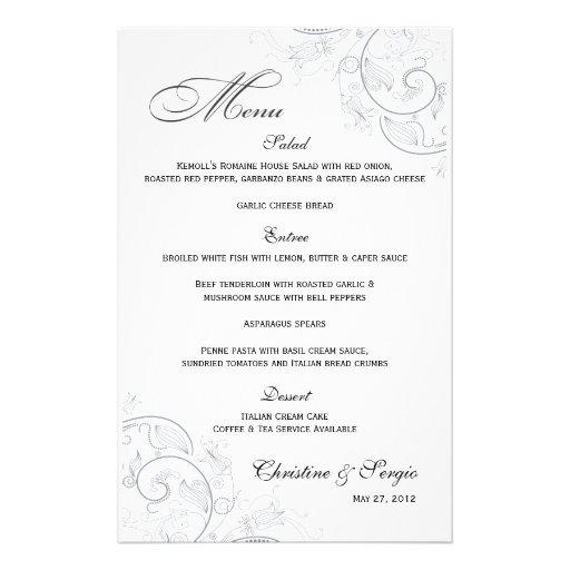 Elegant Pewter Floral Wedding Menu Personalized Stationery