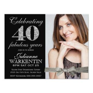 Elegant Photo 40th Birthday Celebration 4.25x5.5 Paper Invitation Card