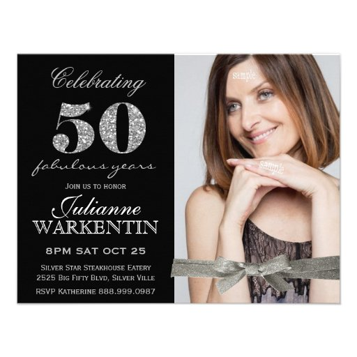 Elegant Photo 50th Birthday Celebration Custom Invite