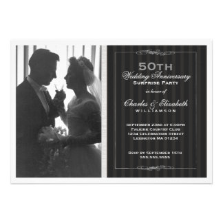 Elegant Photo 50th Wedding Anniversary Party Custom Announcements