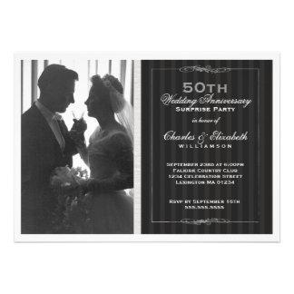Elegant Photo 50th Wedding Anniversary Party Custom Announcements