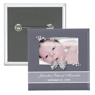 Elegant Photo Birth Announcement Silver Ribbon Pin