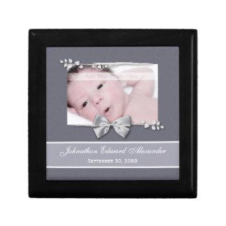 Elegant Photo Birth Announcement Silver Ribbon Gift Boxes