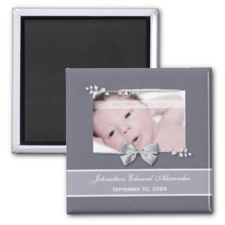 Elegant Photo Birth Announcement Silver Ribbon Magnets