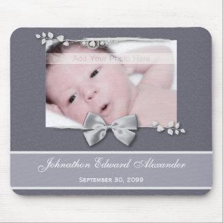 Elegant Photo Birth Announcement Silver Ribbon Mouse Pad