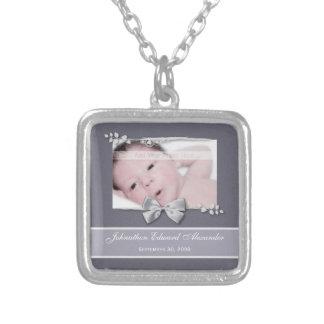 Elegant Photo Birth Announcement Silver Ribbon Necklace