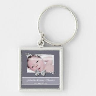 Elegant Photo Birth Announcement Silver Ribbon Silver-Colored Square Keychain