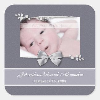 Elegant Photo Birth Announcement Silver Ribbon Square Sticker
