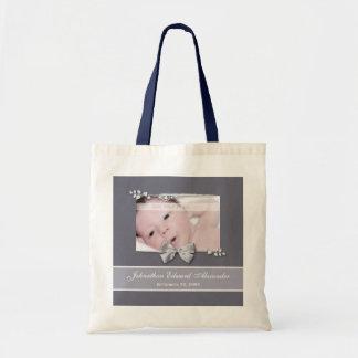 Elegant Photo Birth Announcement Silver Ribbon Tote Bag