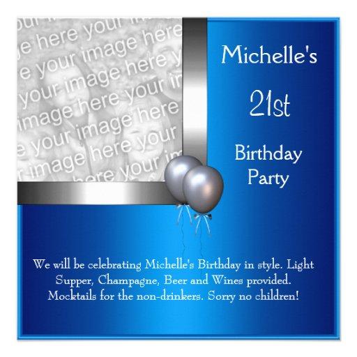 Elegant Photo Blue Silver Balloon 21st Birthday Custom Invite