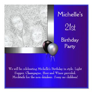 "Elegant Photo Blue Silver Balloon 21st Birthday 5.25"" Square Invitation Card"
