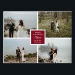 """Elegant Photo Collage Merry & Married Postcard<br><div class=""""desc"""">Wedding Christmas card with room for four of your wedding photos. Merry & Married written against deep burgundy with a lovely illustration of a leafy twig. Add your own photos,  and on the back,  a personal note.</div>"""