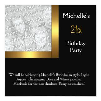 Elegant Photo Gold Black 21st Birthday Card