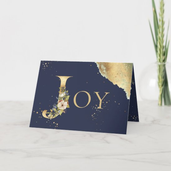 Elegant Photo Gold Floral Blue Joy Christmas Holiday Card