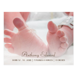Elegant Photo Newborn Baby Feet Birth Announcement Postcard