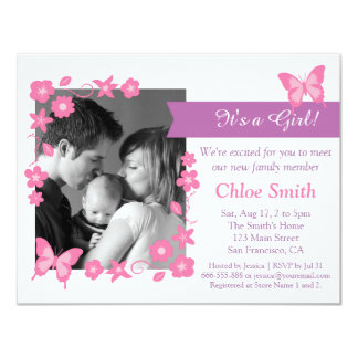 Elegant Photo Pink butterfly baby shower party Card