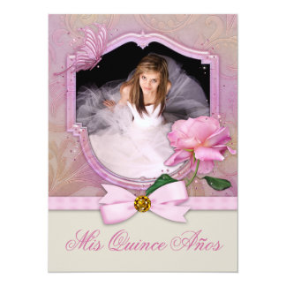 Elegant Photo Pink Butterfly Rose Quinceanera Card