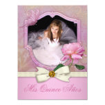 Elegant Photo Pink Butterfly Rose Quinceanera Announcements