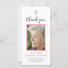Elegant Photo Pink Floral Memorial Thank You Card