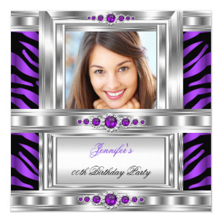 Elegant Photo Purple Zebra Silver Birthday Party Card