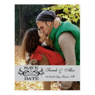 Elegant Photo Save the Date Grey Swirl Postcard