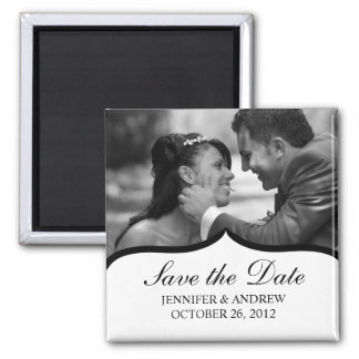 Elegant Photo Save the Date Magnet (black/white)