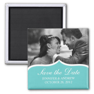 Elegant Photo Save the Date Magnet (turquoise)
