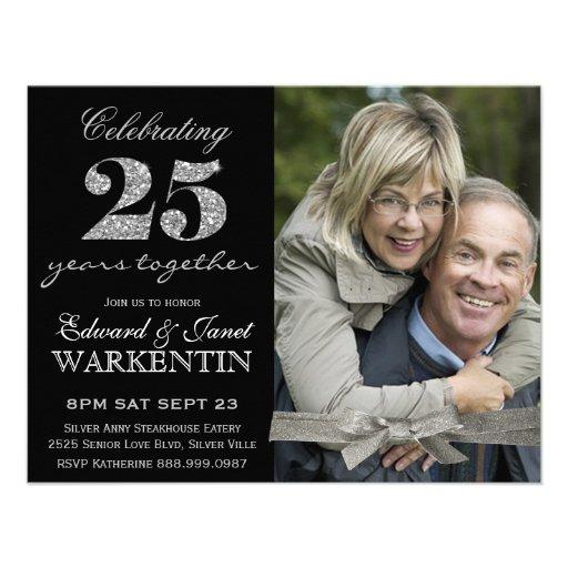 Elegant Photo Silver 25th Wedding Anniversary Personalized Invite (front side)