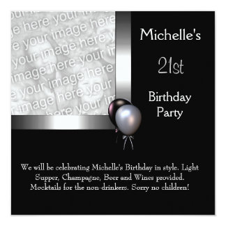 Elegant Photo Silver Black Balloon 21st Birthday Custom Invitations