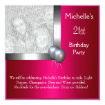 Elegant Photo Silver Cerise Balloon 21st Birthday Personalized Announcement