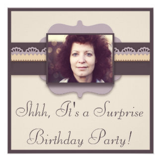 Elegant Photo Surprise Birthday Party Invitation