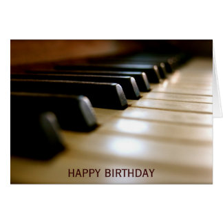 Elegant piano keyboard music birthday card