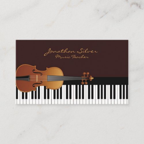 Elegant Piano Keys  Violin Music Business Card