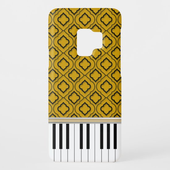 Elegant Piano Keys with Black Quatrefoil on Gold Case-Mate Samsung Galaxy S9 Case