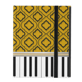 Elegant Piano Keys with Black Quatrefoil on Gold iPad Cover