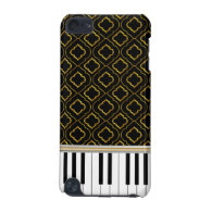 Elegant Piano Keys with Gold Quatrefoil on Black iPod Touch 5G Covers
