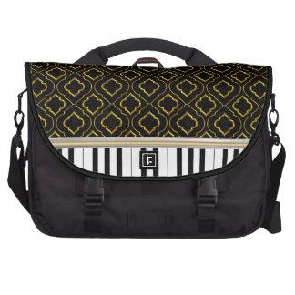 Elegant Piano Keys with Gold Quatrefoil on Black Bag For Laptop