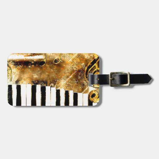Elegant Piano Music & Notes Luggage Tags