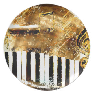 Elegant Piano Music & Notes Party Plates