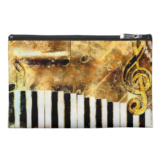 Elegant Piano Music & Notes Travel Accessory Bag