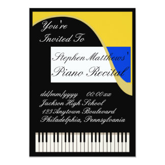 Elegant Piano Recital 5x7 Paper Invitation Card