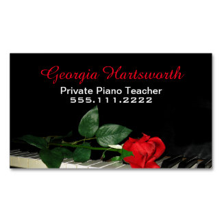 Elegant Piano Teacher Business Magnet