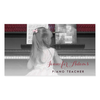 Elegant Piano Teacher Girl Student Pink Dress Business Card