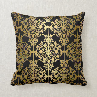 Elegant Pillow Black Gold Damask Floral