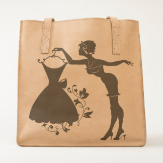 Elegant pin up stylish woman silhouette with dress tote