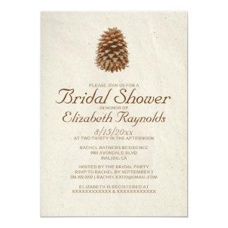 Elegant Pine Cone Bridal Shower Invitations Cards