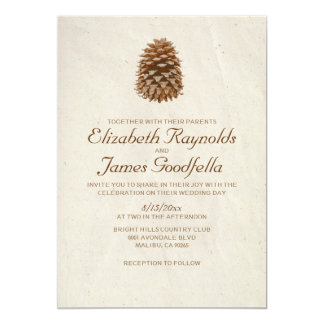 Elegant Pine Cone Wedding Invitations Personalized Invitation